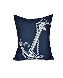 Anchored 16 Inch Navy Blue Decorative Nautical Throw Pillow