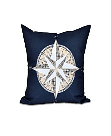 Compass 16 Inch Navy Blue and Taupe Decorative Nautical Throw Pillow