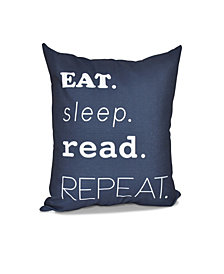 My Mantra 16 Inch Navy Blue Decorative Word Print Throw Pillow