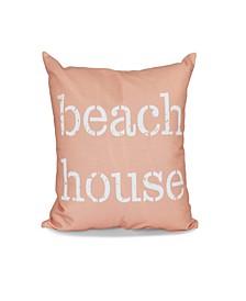 Beach House  16 Inch Coral Decorative Word Print Throw Pillow
