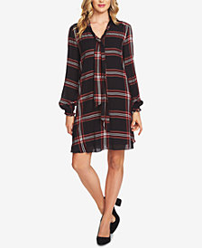 CeCe Plaid Tie-Neck A-Line Dress