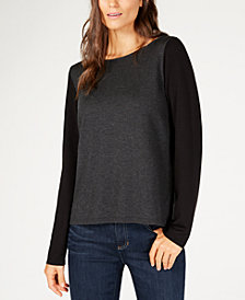 Eileen Fisher Tencel® Bateau-Neck Colorblocked Sweater