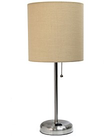 Lime Lights Stick Lamp with Charging Outlet and Fabric Shade
