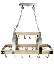 Elegant Designs 2 Light Kitchen Wood Pot Rack with Downlights