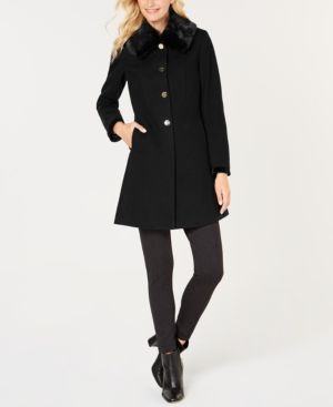 LAUNDRY BY SHELLI SEGAL Belted Faux-Fur Collar Fit-&-Flare Coat in Black