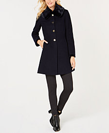 Laundry by Shelli Segal Faux-Fur-Collar Back-Corset Coat