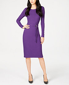 MICHAEL Michael Kors Petite Belted Sheath Dress, Created for Macy's