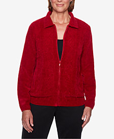 Alfred Dunner Petite Classics Zip-Front Chenille Cardigan