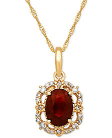 "Ruby (1 ct. t.w.) & Diamond (1/10 ct. t.w.) 18"" Pendant Necklace in 14k Gold"