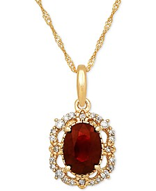 """Ruby (1 ct. t.w.) & Diamond (1/10 ct. t.w.) 18"""" Pendant Necklace in 14k Gold"""