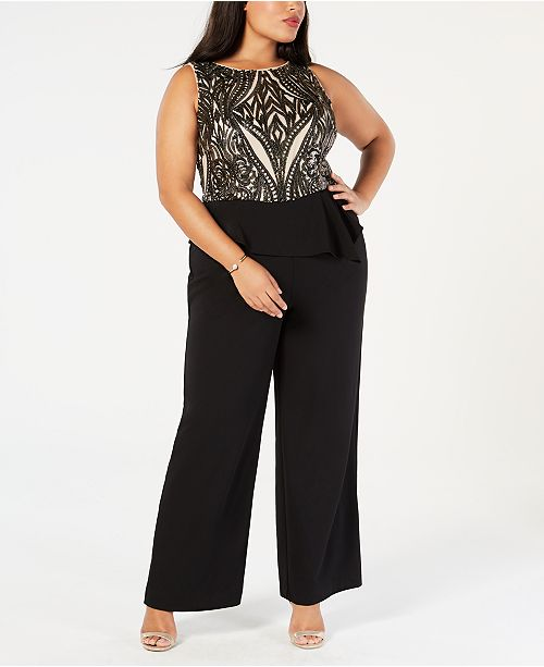 396cdad3c66e Adrianna Papell Plus Size Sequined Peplum Jumpsuit   Reviews - Pants ...