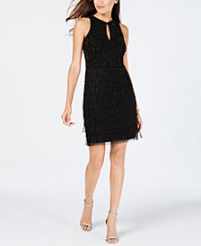 Adrianna Papell Petite Beaded Keyhole Dress