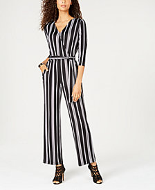 NY Collection Petite Striped Surplice Jumpsuit