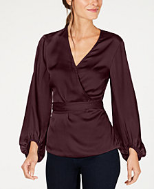 I.N.C. Belted Wrap Top, Created for Macy's
