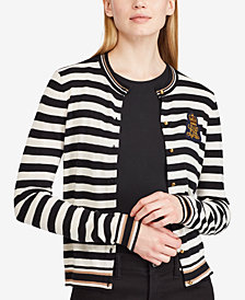 Ralph Lauren Petite Embroidered Striped Cardigan