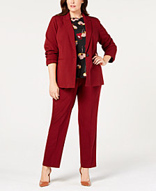 Nine West Plus Size Blazer, Printed Top & Stretch Pants