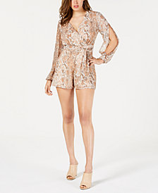 GUESS Gabi Split-Sleeve Printed Romper
