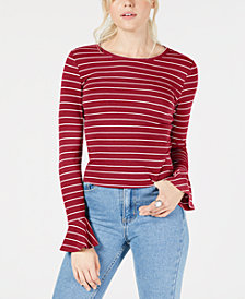 No Comment Juniors' Ribbed Bell-Sleeve T-Shirt