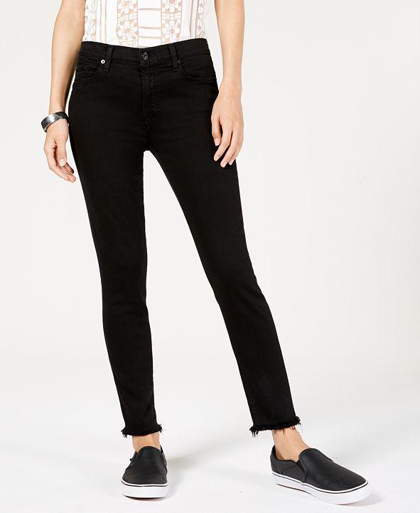 7 For All Mankind Frayed-Hem Skinny Jeans