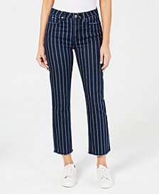 Indigo Rein Juniors' Striped Straight-Leg Ankle-Length Jeans