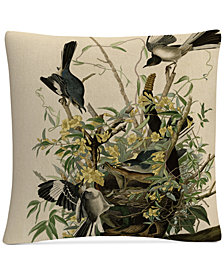 """John James Audubon Mocking Birds and Snake II 16"""" x 16"""" Decorative Throw Pillow"""