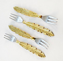 Badash Crystal 4-Piece Feather Cocktail Forks