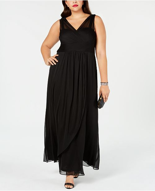 Adrianna Papell Plus Size Draped Embellished Gown ...