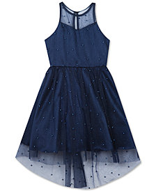 Rare Editions Big Girls Glitter Mesh Pearl Dress