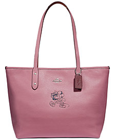 COACH Minnie Motif City Tote in Pebble Leather, Created for Macys