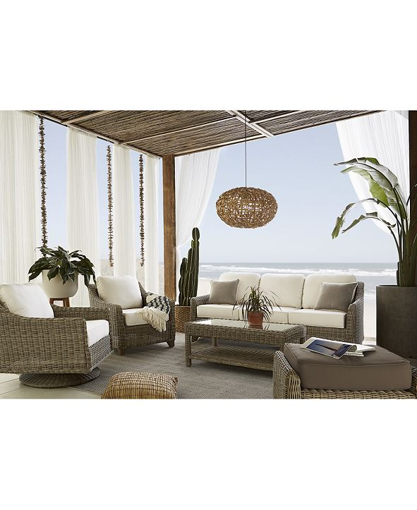 Furniture Willough Outdoor Sofa, with Sunbrella® Cushions, Created for Macy's