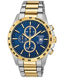 Men's Quartz Chronograph Two-Tone Stainless Steel Bracelet Watch 42mm, Created for Macy's