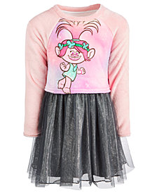 Trolls by DreamWorks Little Girls Plush Poppy Layered-Look Dress