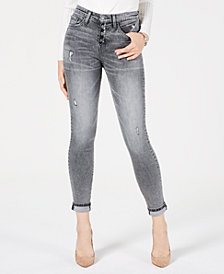 Flying Monkey Button-Front Rolled Skinny Jeans