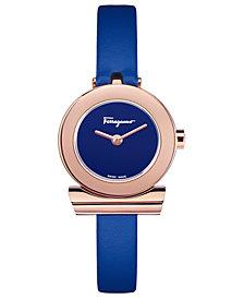 Ferragamo Women's Swiss Gancino Blue Leather Strap Watch 22mm