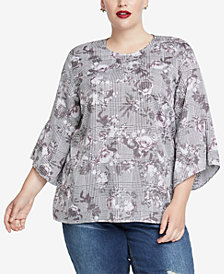 RACHEL Rachel Roy Trendy Plus Size Bell-Sleeve Top