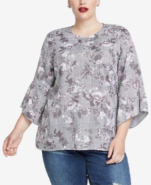 RACHEL RACHEL ROY Trendy Plus Size Bell-Sleeve Top in Grey Combo