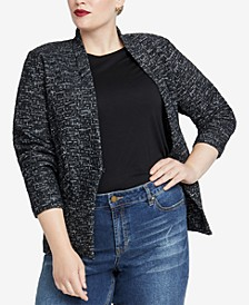 Trendy Plus Size Open-Front Jacket