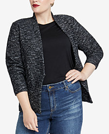 RACHEL Rachel Roy Trendy Plus Size Open-Front Jacket
