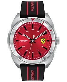 Ferrari Men's Forza Black Silicone Strap Watch 45mm