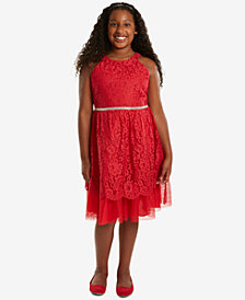 Rare Editions Big Girls Plus Halter Lace Party Dress