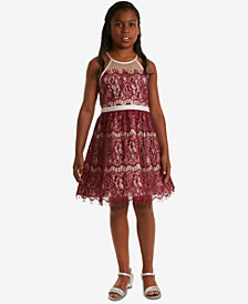 Rare Editions Big Girls Illusion-Neck Lace Dress