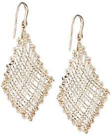 Filigree Weave Textured Drop Earrings in 14k Gold