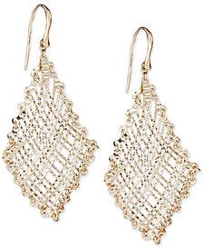 Filigree Weave Textured Drop Earrings in 14k Gold