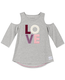 Calvin Klein Big Girls Cotton Cold Shoulder Love T-Shirt