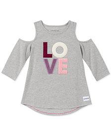 Calvin Klein Big Girls Cotton Cold Shoulder Love T-Shirt