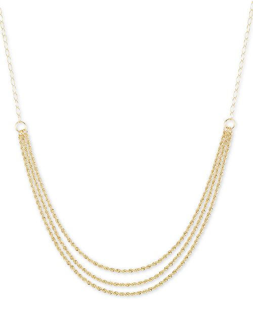 """Italian Gold 18"""" Triple-Strand Rope Chain Necklace (15mm) in 14k Gold"""