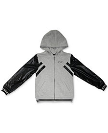 Sean John Big Boys Vegan Leather Zip-Up Hoodie