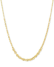 "Italian Gold Graduated Abbracci Link 18"" Chain Necklace (2mm-5mm) in 14k Gold"
