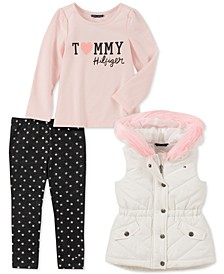 Toddler Girls 3-Pc. Faux-Fur-Trim Vest, Logo Top & Printed Leggings Set