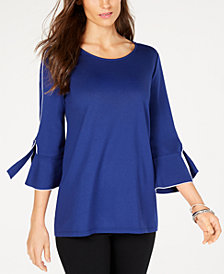 Alfani Piped Tie Sleeve Top, Created for Macy's